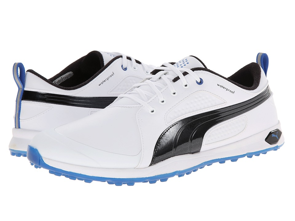 PUMA Golf Biofly White/Black/Strong Blue Mens Golf Shoes