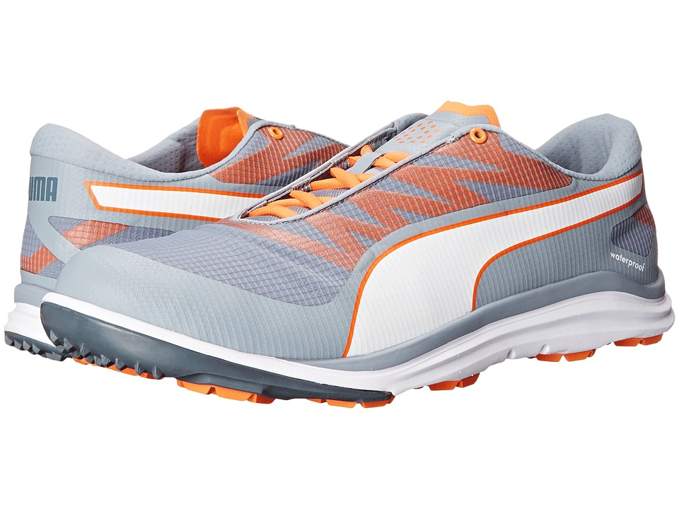 PUMA Golf Biodrive Tradewinds/White/Vibrant Orange Mens Golf Shoes