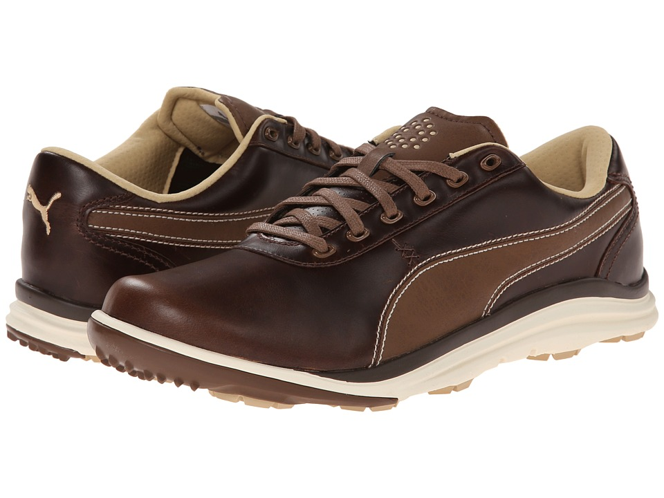 PUMA Golf Biodrive Leather Bison Brown/White Swan Mens Golf Shoes
