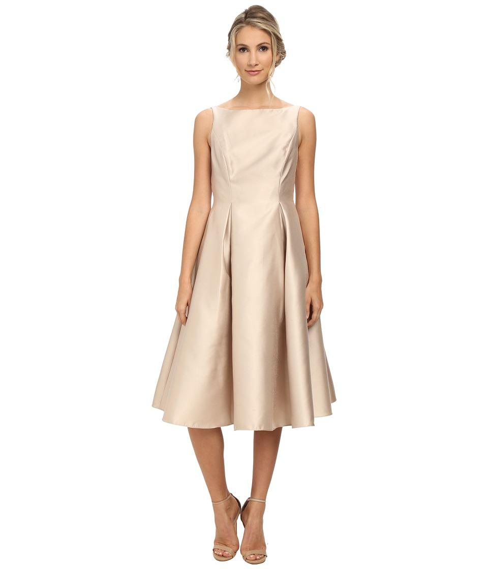 Adrianna Papell Sleeveless Tea Length Dress Champagne Womens Dress