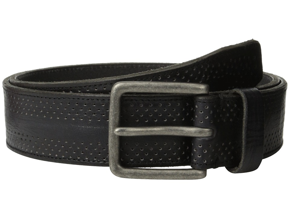 John Varvatos - 38mm Dimpled Leather Harness Buckle (Black) Men