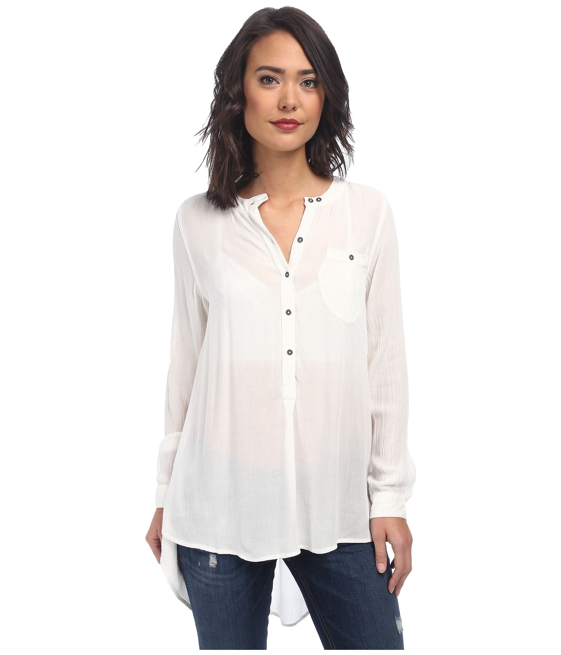 Free people solid rayon gauze boyfriend button down ivory for Gauze button down shirt