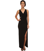 Laundry by Shelli Segal - Wrap Front Open Slit Jersey Gown