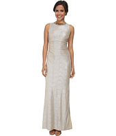 Laundry by Shelli Segal - Metallic Side Shirred Gown with Gold Necklace