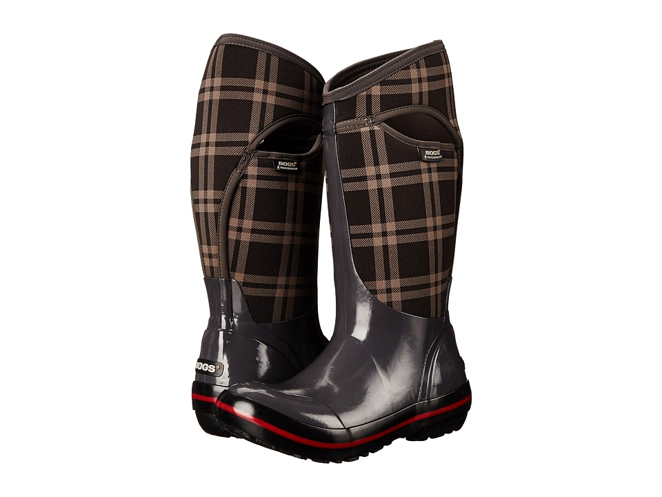 Bogs - Plimsoll Plaid Tall (Dark Gray) Women