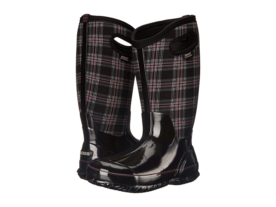 Bogs Classic Winter Plaid Tall Wide Calf Boot (Black Multi) Women