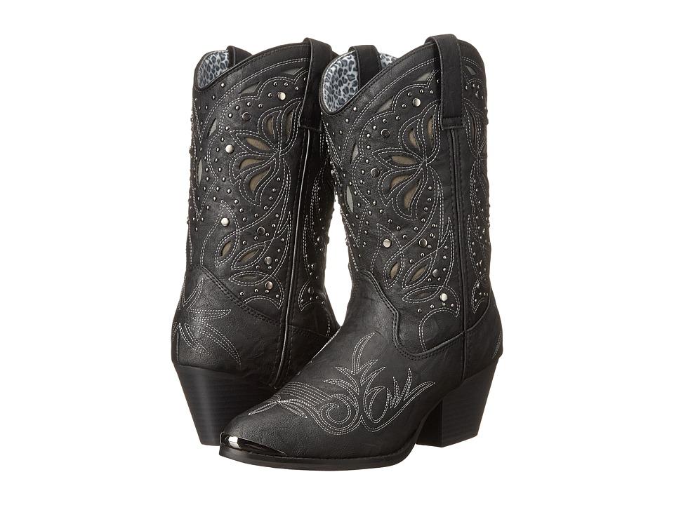 Dingo - Annabelle (Black Suede PU) Cowboy Boots