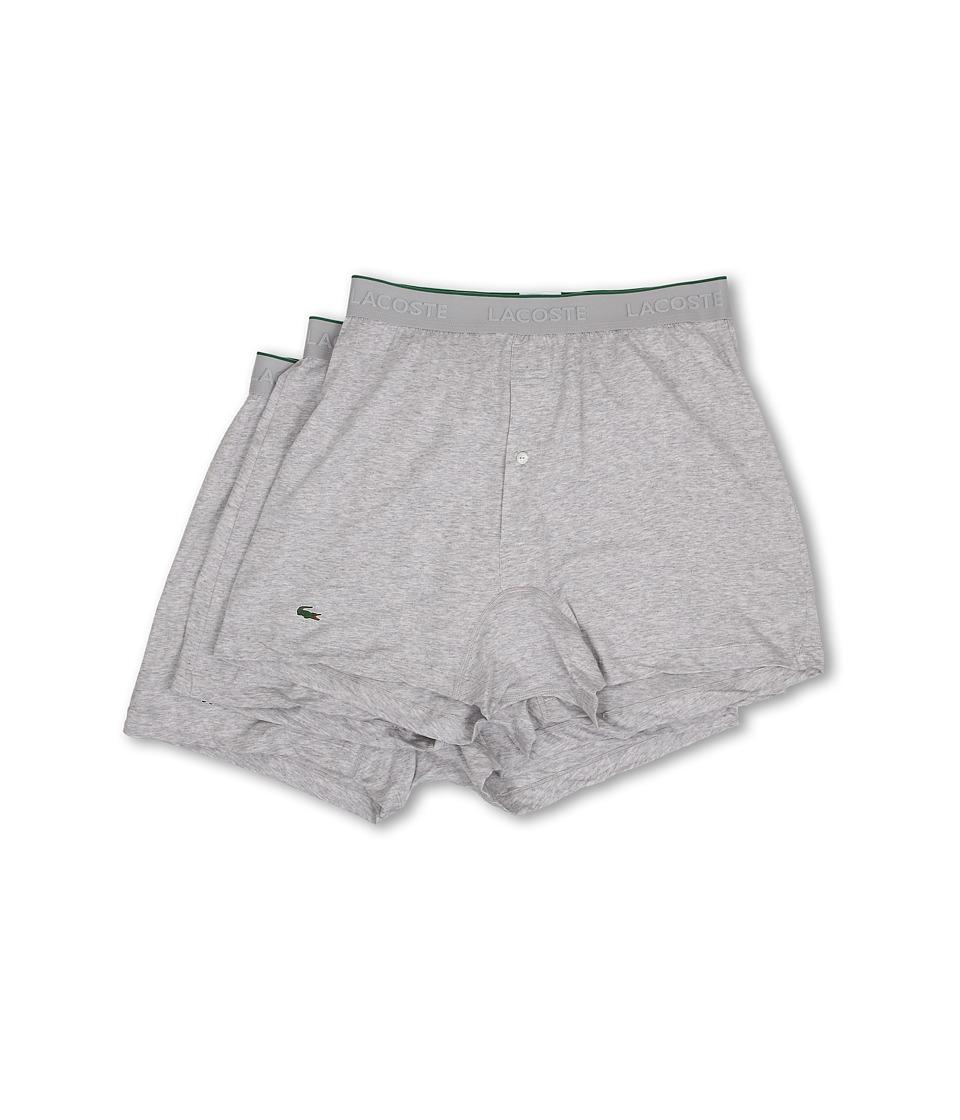 Lacoste - Essentials 3-Pack Knit Boxer (Grey) Men's Underwear