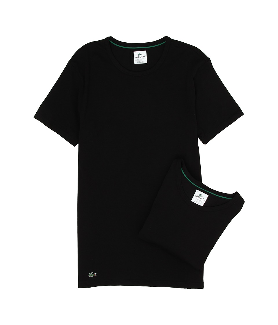 Lacoste Colours 2-Pack Crew Tee (Black) Men's Underwear