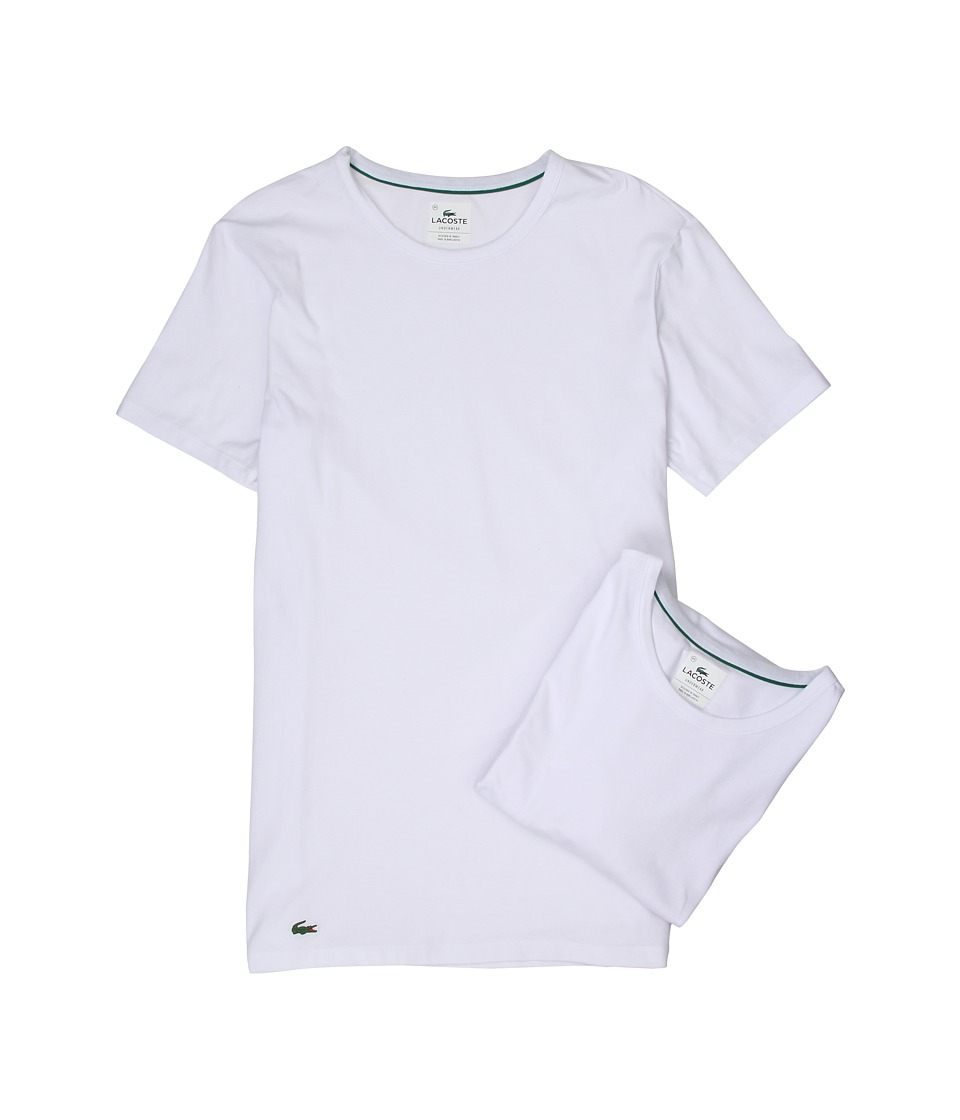Lacoste Colours 2-Pack Crew Tee (White) Men's Underwear