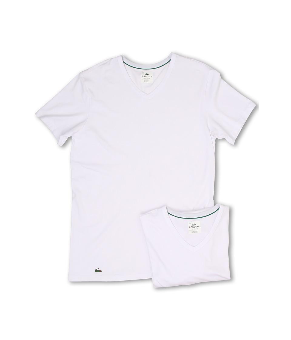 Lacoste Colours 2-Pack V-Neck Tee (White) Men's Underwear