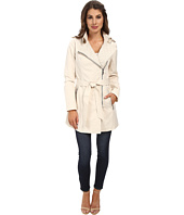 Sam Edelman - Asymm Zip Front Trench w/ Coated Linen Detail
