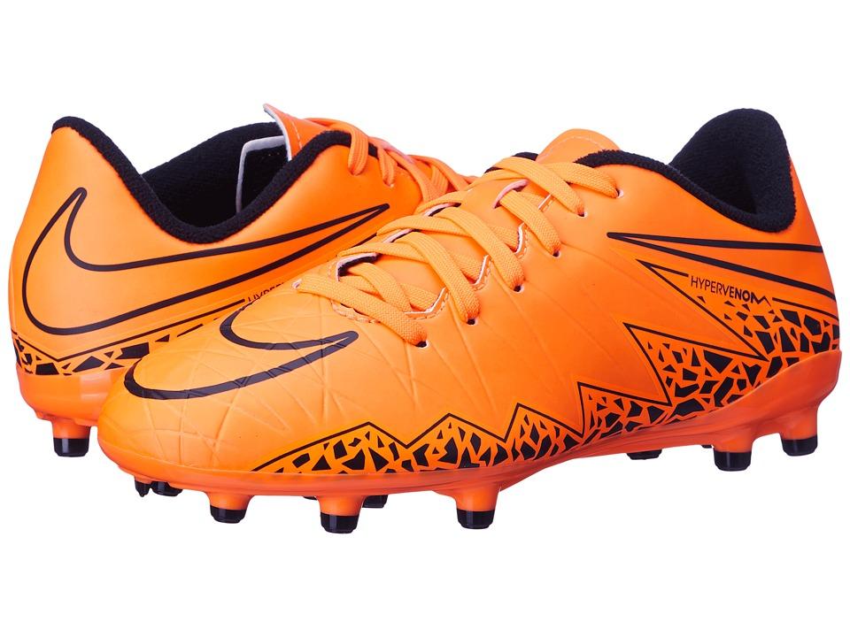 Nike Kids - Jr Hypervenom Phelon II FG Soccer (Toddler/Little Kid/Big Kid) (Total Orange/Black/Total Orange) Kids Shoes