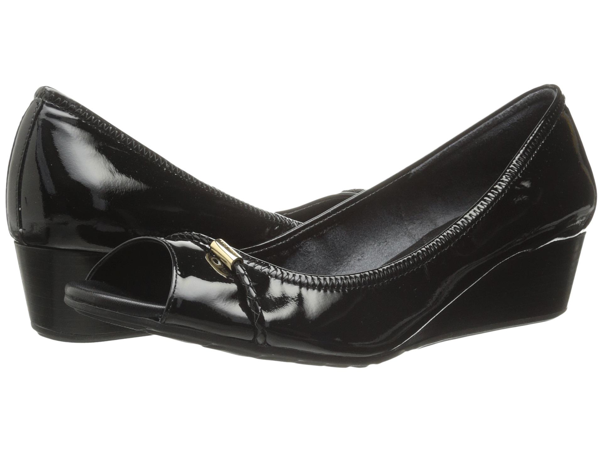 Black Open Toe Wedge Heels