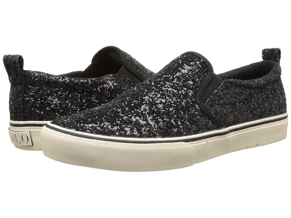 Polo Ralph Lauren Kids Carlee Twin Gore Little Kid/Big Kid Black Glitter Girls Shoes