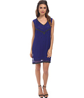 Nicole Miller - V-Neck Flapper Beading Shift Dress