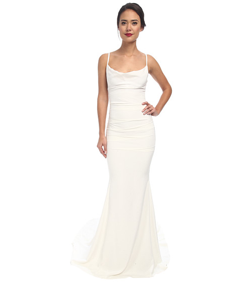 Nicole Miller Hampton Lace Back Gown - Antique White