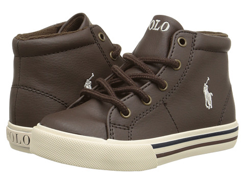 Polo Ralph Lauren Kids Scholar Mid (Toddler) - Chocolate Tumbled