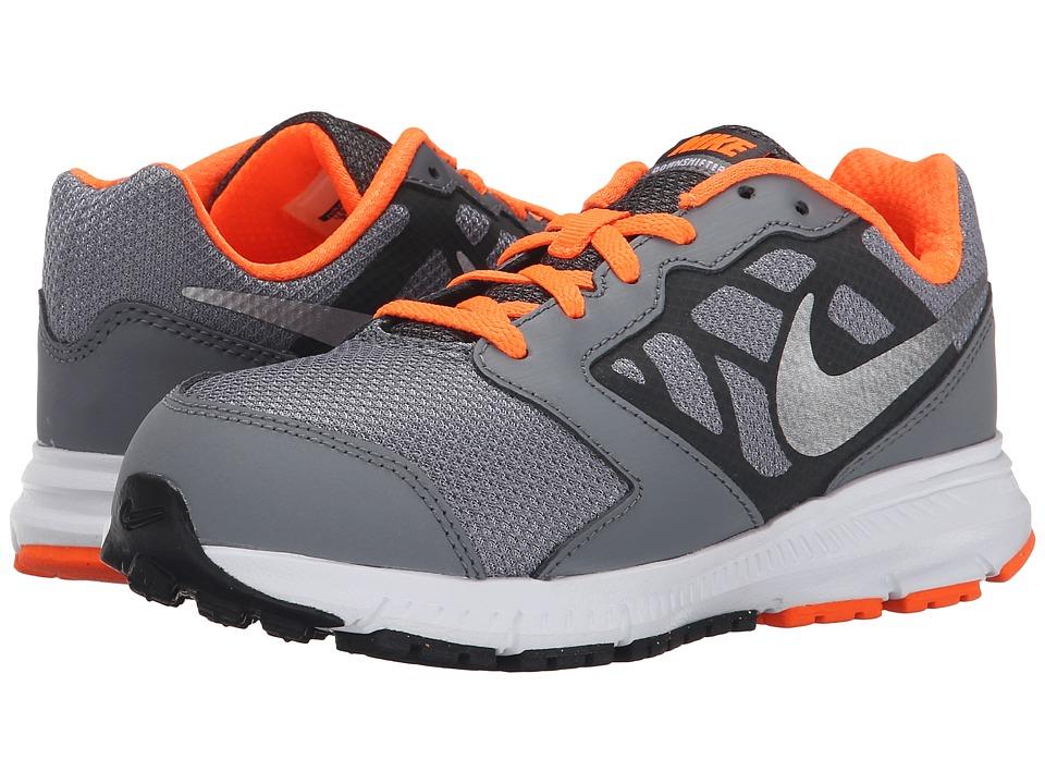 Nike Kids Downshifter 6 Little Kid/Big Kid Cool Grey/Total Orange/White/Metallic Silver Boys Shoes