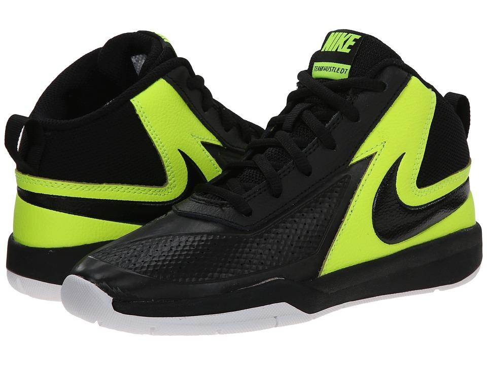 Nike Kids - Team Hustle D 7 (Little Kid) (Black/Volt/White/Black) Boys Shoes