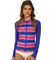 Tommy Bahama - Paint Stripe Long Sleeve Rashguard Zip Cover-Up