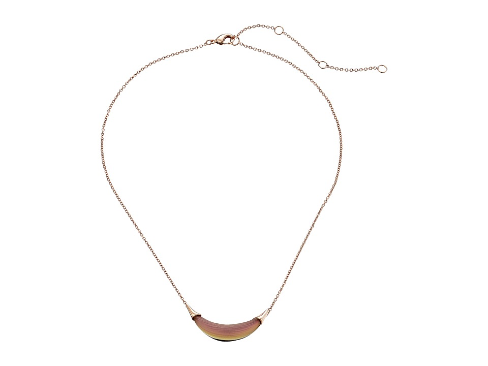 Alexis Bittar Small Capped Crescent Pendant Necklace Rose Opalescent Necklace