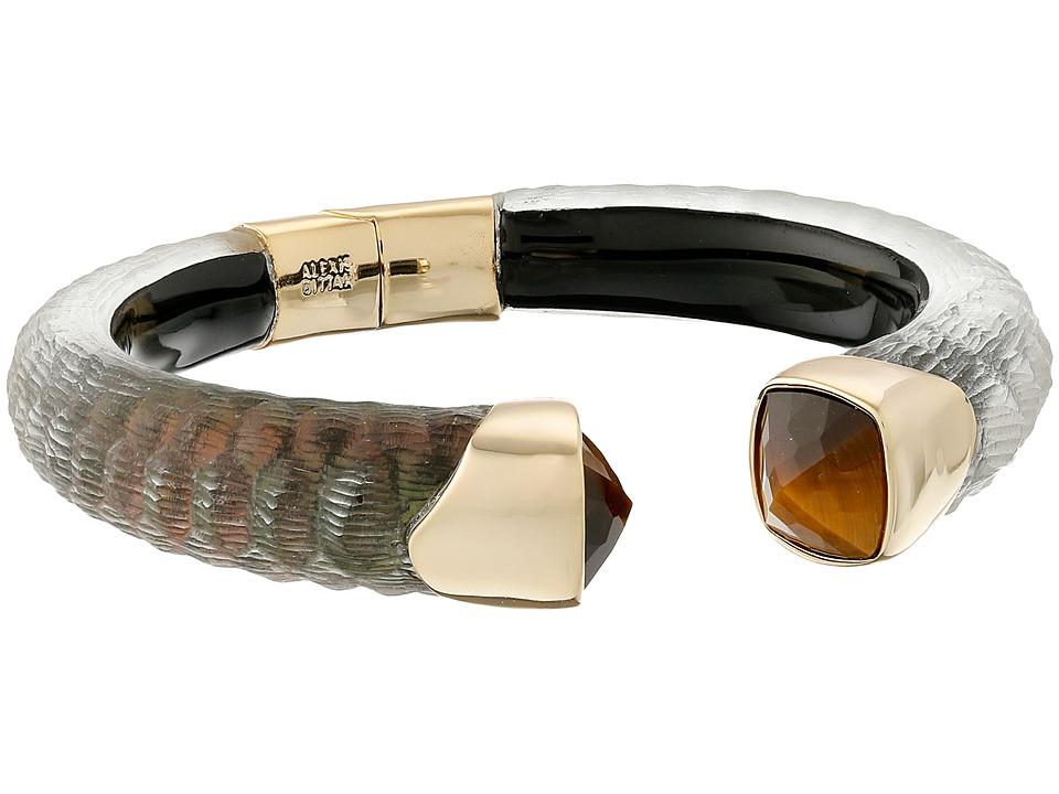 Alexis Bittar Crocodile Textured w/ Cushion Cut Tiger Eye Brake Hinge Bracelet Emerald Croc Earring
