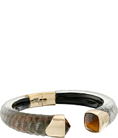 Alexis Bittar - Crocodile Textured w/ Cushion Cut Tiger Eye Brake Hinge Bracelet