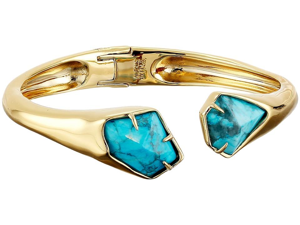 Alexis Bittar Asymmetrical Break Hinge w/ Fancy Cut Howlite Turquoise Bracelet 10K Gold Bracelet