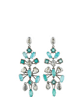 Alexis Bittar - Fancy Mobile Post w/ Rose Cut Amazonite Doublets, Chrysoprase Color Chalcedony & Antique Set Crystal Earrings