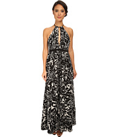 JILL JILL STUART - Printed Keyhole Halter Chiffon Gown
