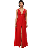 JILL JILL STUART - Deep V-Neck Ruched Chiffon Gown