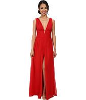 JILL JILL STUART - Deep V-Neck Ruched Chiffon Gown