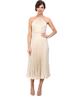 JILL JILL STUART - Midi Pleated Halter Lame Dress