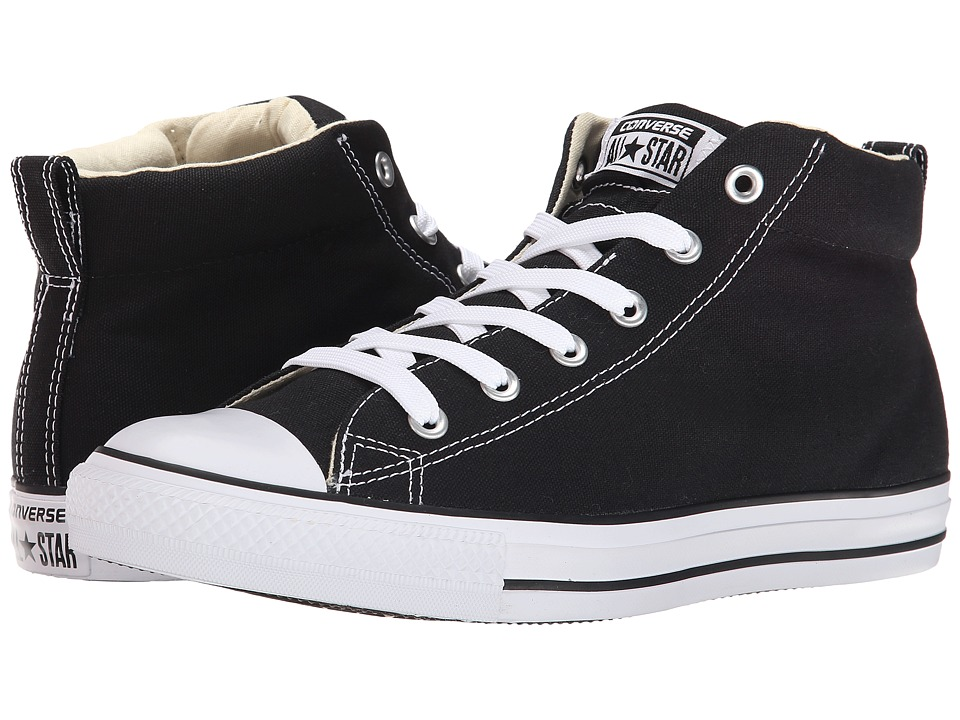 1960s Mens Shoes- Retro, Mod, Vintage Inspired Converse - Chuck Taylorr All Starr Street Core Canvas Mid BlackNaturalWhite Lace up casual Shoes $59.99 AT vintagedancer.com