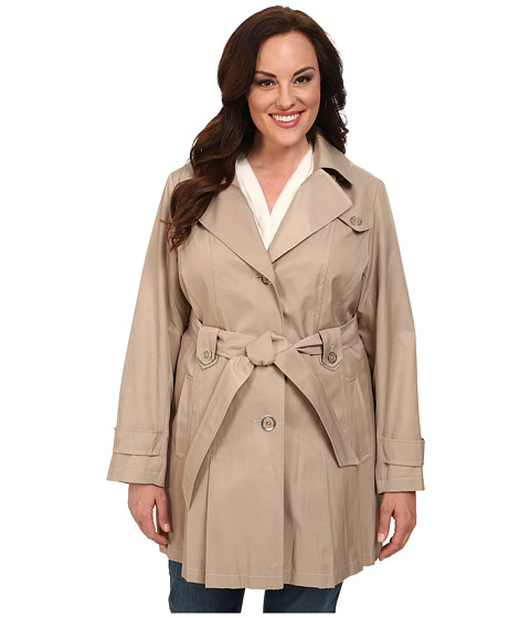 Женские куртки, пальто Via Spiga Plus Size Single-Breasted Hooded Trench -