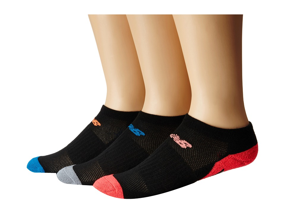 New Balance - Adaptive No Show 3-Pack (Black/Pink) No Show Socks Shoes