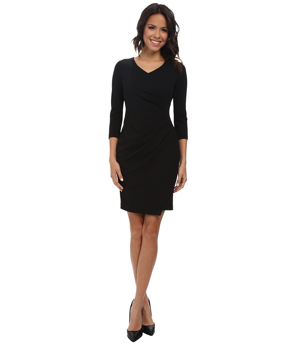 NYDJ Rosella Stretch Crepe Drape Dress Black Womens Dress