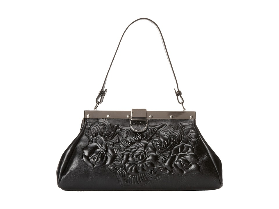 Patricia Nash - Tooled Rose Ferrra Satchel (Black) Satchel Handbags