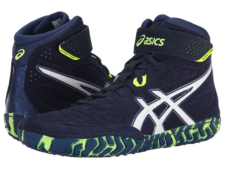 ASICS Aggressor 2 Estate Blue/White/Flash Yellow Mens Wrestling Shoes