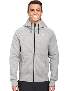 Image of Nike - AW77 Fleece FZ Hoodie (Dark Grey Heather/Dark Grey Heather/White) Men's Sweatshirt