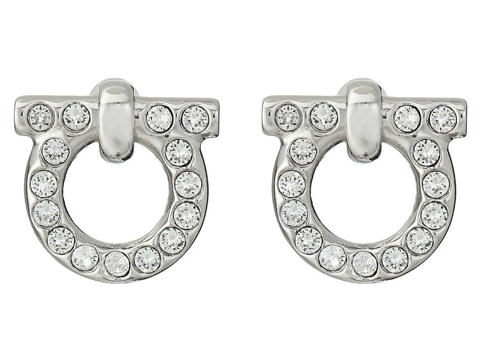 Salvatore Ferragamo Gancio Stud Earrings Palladium Crystal Earring