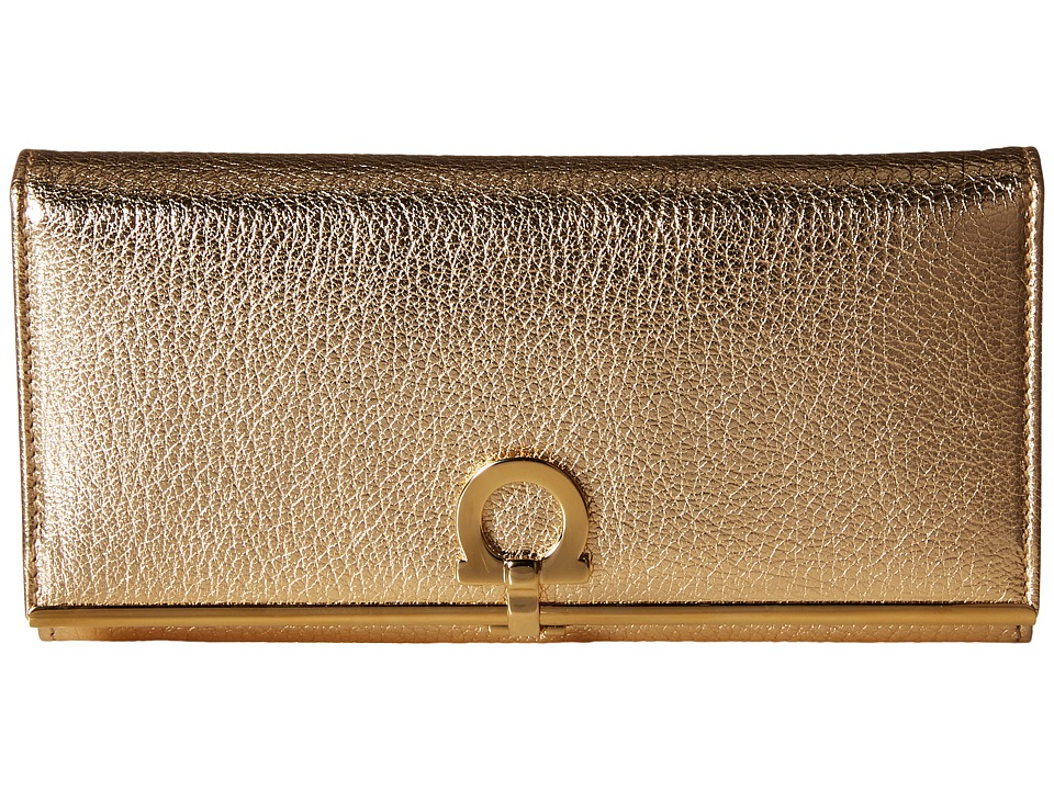 Salvatore Ferragamo - 22C355 Gancini Continental Wallet (Oro Mekong) Wallet Handbags