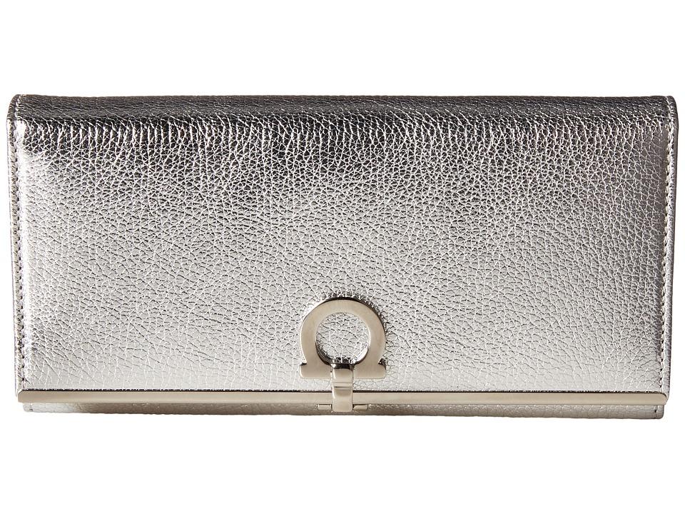 Salvatore Ferragamo - 22C355 Gancini Continental Wallet (Argento) Wallet Handbags
