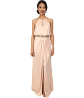 Aidan Mattox - Long Jersey Halter Gown with Beaded Waist