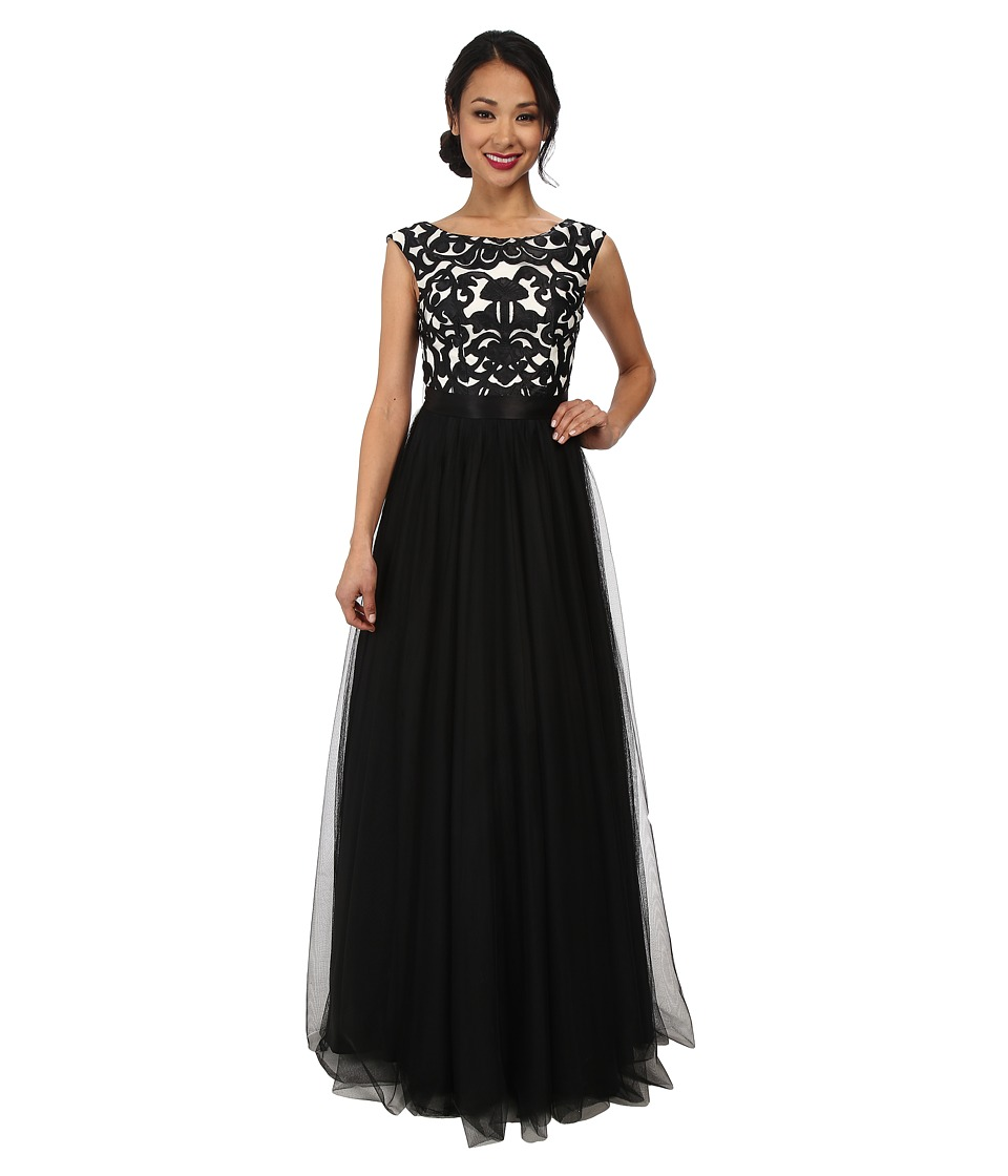 Aidan Mattox Embroidered Ball Gown (Black/Ivory) Women