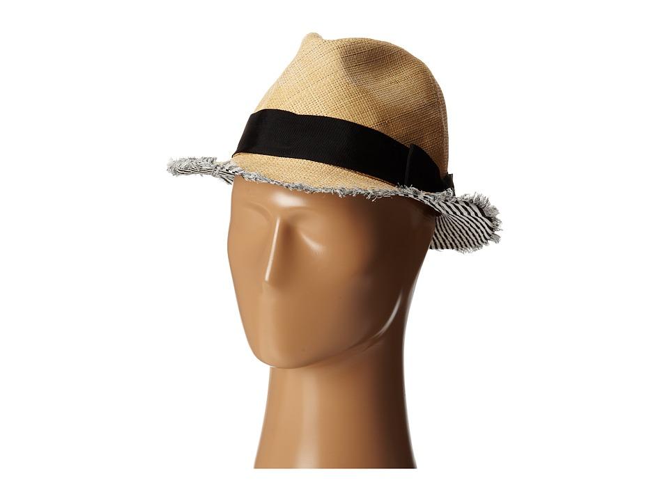 San Diego Hat Company - EBH9890 Woven Raffia Fray Edge Fedora w/ Bow (Natural) Fedora Hats
