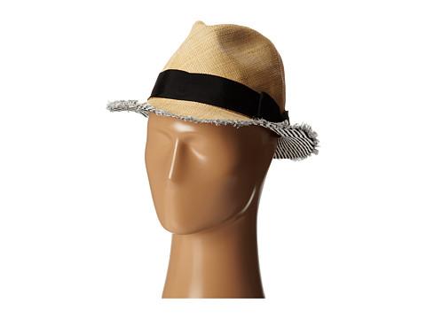San Diego Hat Company EBH9890 Woven Raffia Fray Edge Fedora w/ Bow - Natural