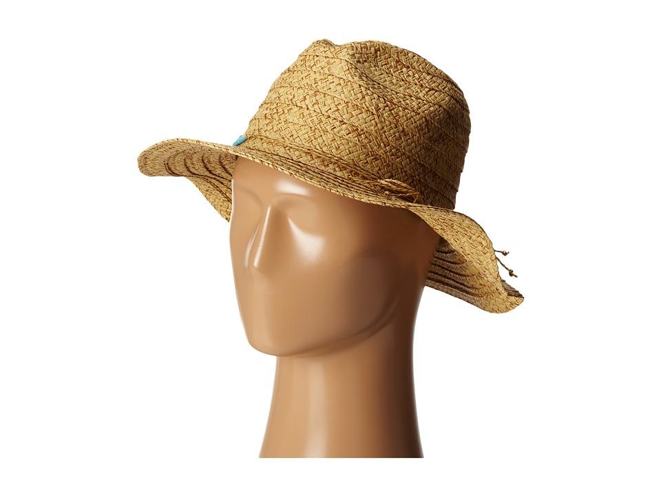 San Diego Hat Company - PBF6172 Panama Fedora w/ Turquoise Beads (Tobacco) Fedora Hats