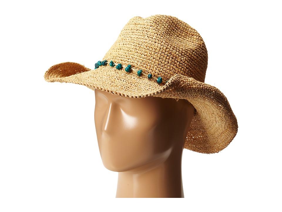 San Diego RHC1074 Crochet Raffia Cowboy w/ Turqoise Bead ...